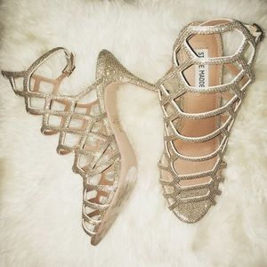 Steve Madden Saedee Gold Glitter Caged Heels